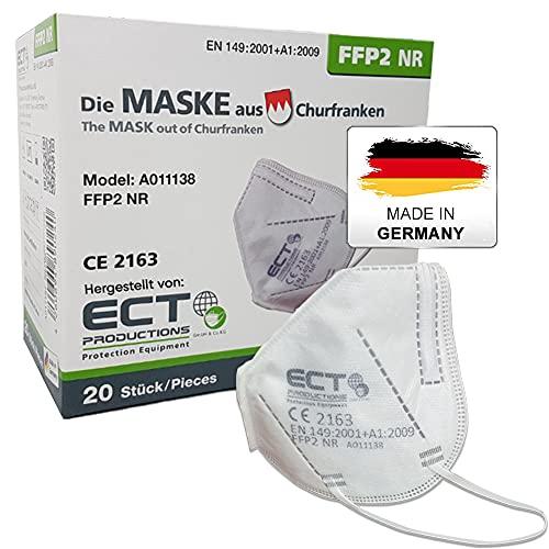 COCO BLANCO FFP2 Masken CE Zertifiziert aus Deutschland - 20X FFP2 Maske (NR) MADE IN GERMANY - Premium Atemschutzmaske FFP2 ohne Ventil für maximale Sicherheit