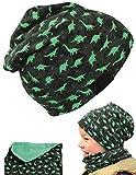 HECKBO® Kinder Jungen Beanie Mütze & Loop-Schal Set - für Frühling, Sommer, Herbst & Winter - Wendemütze Dinosaurier Dino - 2 bis 7 Jahren - 95% Baumwolle - weiches & pflegeleichtes Stretch-Material