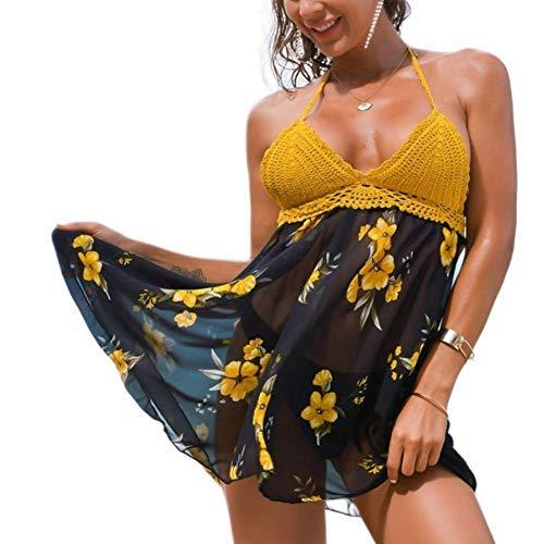 UKKD Traje De Baño Mujer Verano Mujer Traje De Baño Vestido De Malla Gauze Playa Traje De Baño Halter Floral Estampado Transparente Triángulo Bragas-C,S