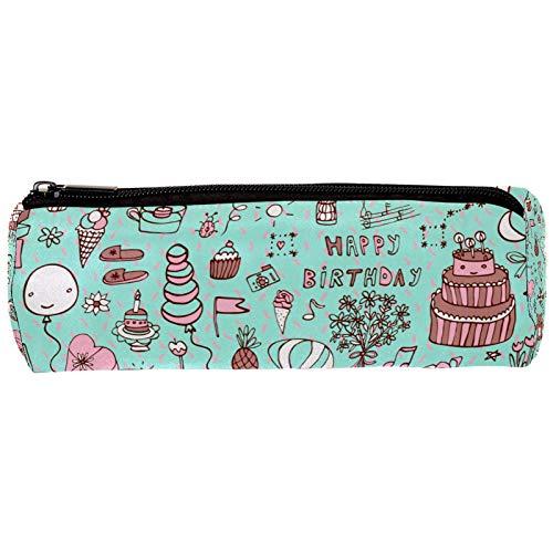Estuche portátil para lápices Oso de globo de pastel estudiantes de niñas Cilindro Papelería Bolsa de Cartuchera Cosmetic Pouch Vistoso práctico 20x6.3cm