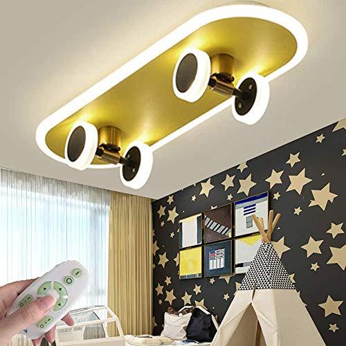 Deckenleuchte Modern Dimmbar LED Deckenlampe Wohnzimmerlampe Mit Fernbedienung Skateboard Design Weiß Schlafzimmer Pendelleuchte Metall Acryl Esszimmer Arbeitszimmer Kinderzimmer Innenbeleuchtung (A)