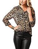 Naliha Las Mujeres Blusa De Leopardo Impreso T-Shirt Tops Botón Slim Office Blusas Leopard XL