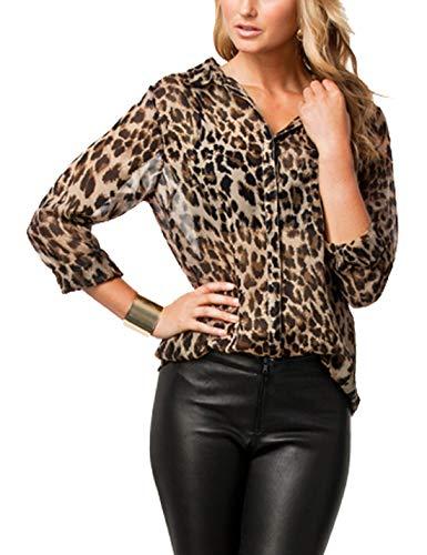 Las Mujeres Blusa De Leopardo Impreso T - Shirt Tops Botón Slim Office Blusas Leopard L