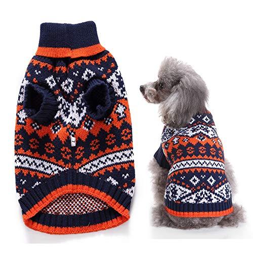 Hond Warme trui Klassieke fleecetrui Kleding Puppy Cat Knitwear Jas Kleding Kleine honden Plaid Winter Coltrui,L