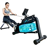 pooboo Water Rowing Machine Foldable Rower Exercise Equipment for Home Use with Full Arm Extensions...