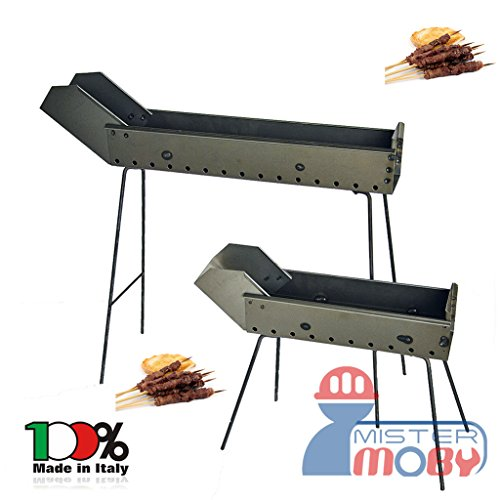 Mistermoby Barbecue Fornacella da 40 Cm +Becco da 20 Cm Per Arrosticini di Carne Spiedini di Pesce o Pane