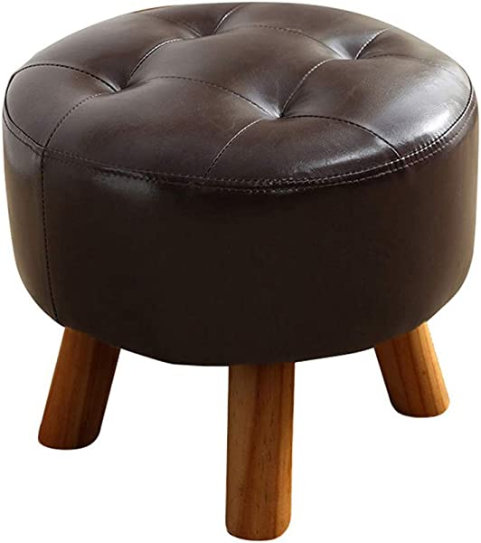 Solid Wood Round Footstool Stool Upholstered Pouffe Stool Sofa Change Shoes With Wooden 4Legs And PU Leather Cover Dark Brown