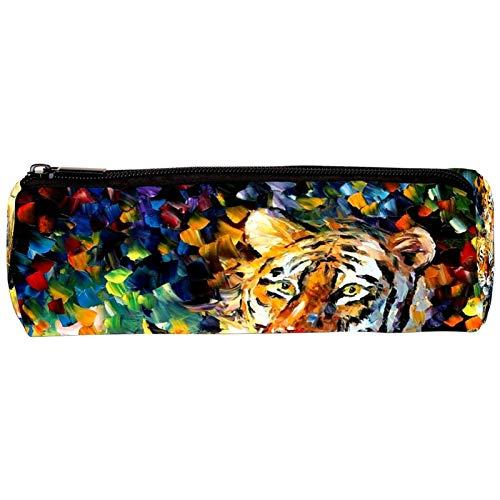 Colorido estuche de lápices de león para pintura al óleo duradero para estudiantes escolares titular de la pluma organizador de papelería bolsa para niñas mujeres adultos adolescentes niños