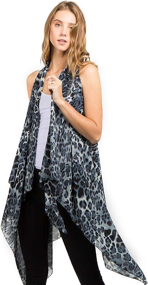 CCFW Various Pattern Long Scarf Vest with Uneven Open Asymmetrical Hem Vest Cardigan