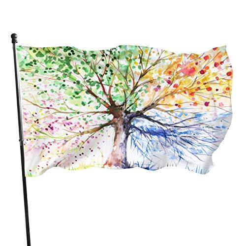 Árbol de estilo acuarela con bandera colorida de ramas florecientes 3 x 5 pies Banner decorativo para exteriores Bandera estándar colgante exterior