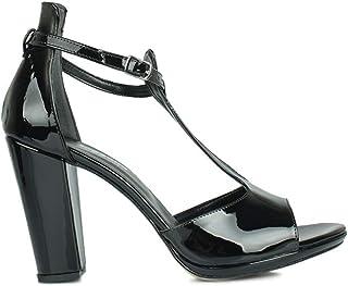 Loggalin 520015 020 Kadın Siyah Rugan Topuklu Sandalet