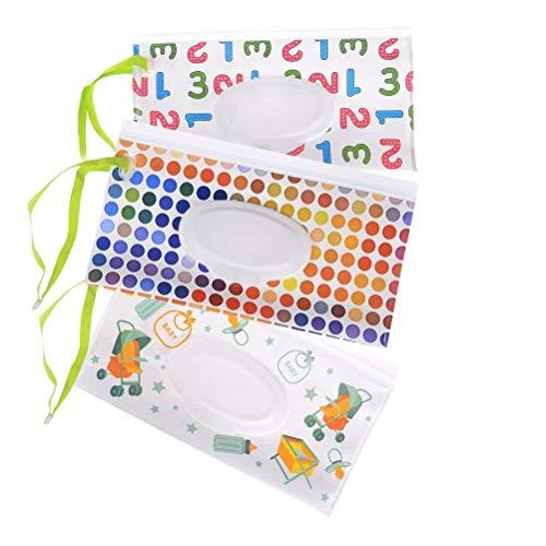 Iwinna 3PCS Baby Wet Wipe Pouch Travel Wipes Case Refillable Portable Dispenser Reusable Wipe Bag Travel Cases, Random Pattern