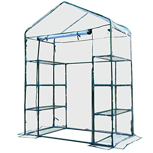 Outsunny 4 Tiers 8 Shelves Metal Frame Walk in Portable Greenhouse Transparent 143 L x 73W x 195H cm