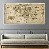 Lona Pintura al óleo HD imprime del cartel for la sala de estar arte de la pared de 1 pedazo El Señor de los Anillos mapa moderna de la pintura Decoración Fotos (Size (Inch) : 50 x 100cm)