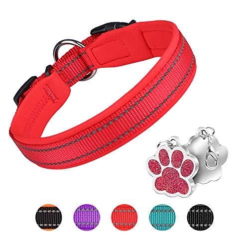 PcEoTllar Hundehalsband Verstellbare Weich Gepolstertes Neopren Nylon Hunde Halsband Reflektierend Halsband Atmungsaktives Einstellbar mit Erkennungsmarke for kleine mittel große Hunde - Rot-M