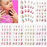 120 Pieces Girls Press on Nails Fake Nails Artificial Nail Tips Children Full...