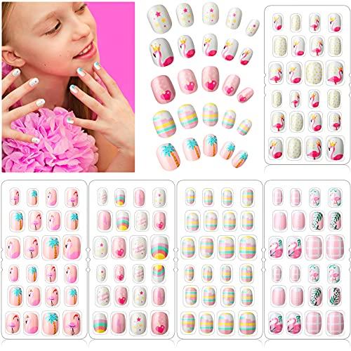 120 Uñas Postizas de Niñas a Presión Puntas de Uñas Artificiales Postizas Cortas de Cubierta Completa de Niños para Decoración Arte de Uñas, 5 Cajas (Arcoiris y Flamenco)