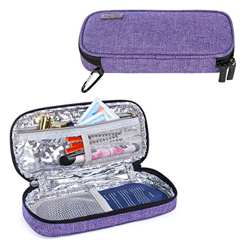 Luxja Insulin Travel Case, Diabetic Bag for Carrying Insulin Pens and Other Diabetic Supplies (Bag Only), Purple