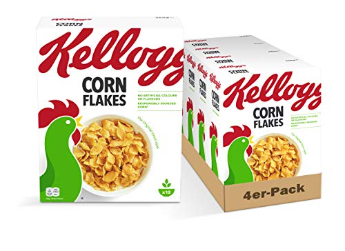 Kellogg's Corn Flakes Cerealien | 4er Vorratspack | 4 x 360g