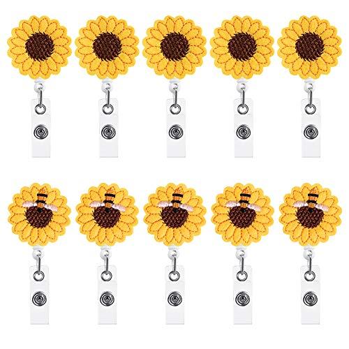 Firtink 10 Stück Abzeichen Rollen mit Sonnenblumenabzeichen, Abzeichen Rollenhalter Einziehbare ID Abzeichen für Krankenschwester Arzt Lehrer Studenten