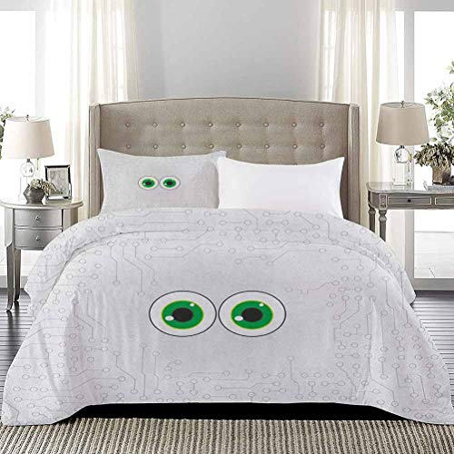 UNOSEKS LANZON Bedding Sets High-Tech Hardware Circuit Board Backdrop with Eye Forms Digital Picture Soft Lightweight Coverlet Soft, Attractive, Easy to Get Quilt In Pearl Black Jade Green, Full Size