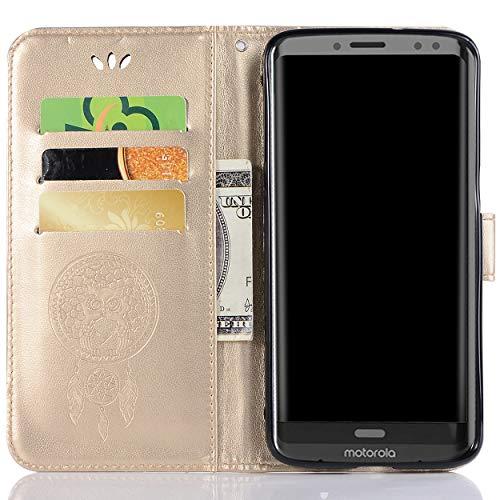 Capa de couro para Moto Z3 Play, capa carteira para Moto Z3 Play, capa flip floral em couro sintético com suporte para cartão de crédito para Motorola Moto Z3 Play de 6 polegadas