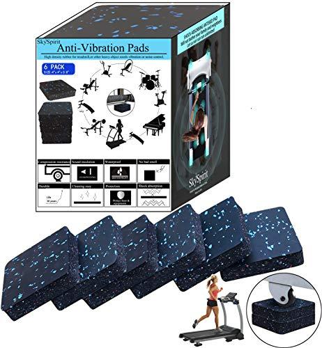 Tapete para equipo de ejercicio, tapete para cinta de correr, traje para equipos de gimnasio que incluyen bicicleta estática, equipo pesado de fitness y elíptica, etc.Paquete de 6(4x4x0,8inch)