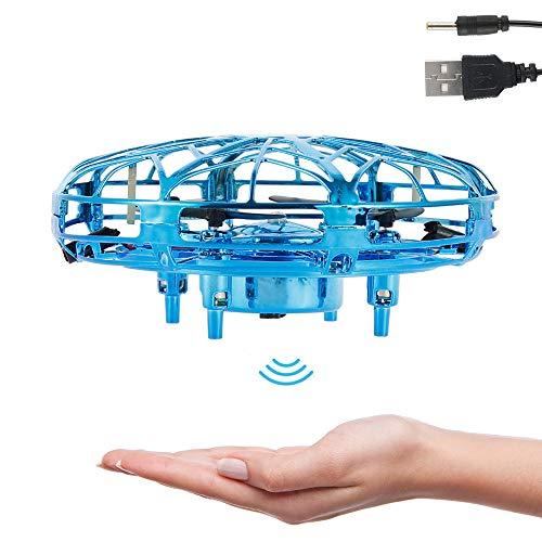 Mini Drone UFO con Luces LED Flying Ball para Niños Recargable UFO Drone Movimiento Control A Mano (Azul)