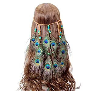 Peacock Feather Headband hippie chic Accessories - AWAYTR