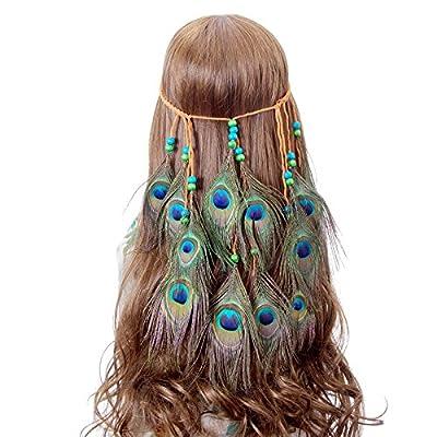 Peacock Feather Headband hippie chic Accessories - AWAYTR
