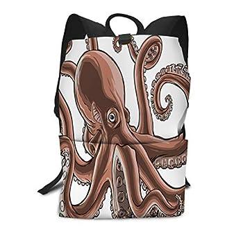 AOYEGO Octopus Backpack Kraken Ocean Octopus Sea Animal Tattoo Shoulder Bag Schoolbag Multi-Functional Travel Bag for Men Women Boys Girls Brown