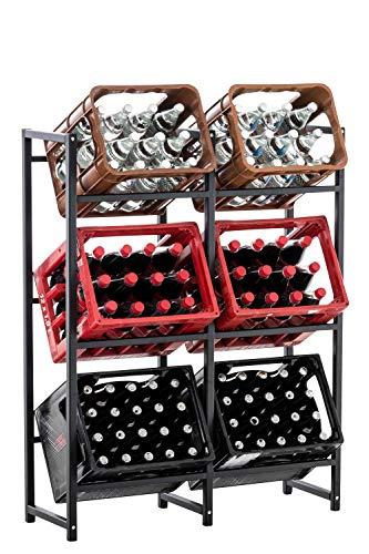 CLP Getränkekistenständer LENNERT I Platzsparender robuster Kistenständer für Getränkekisten I Verschiedene Ausführungen, Farbe:schwarz, Größe:XL