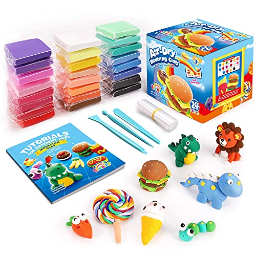 Sago Brothers Air Dry Clay,24 Colors Modelling Clay with 3 Clay Tools & Project Booklet,DIY Creative...