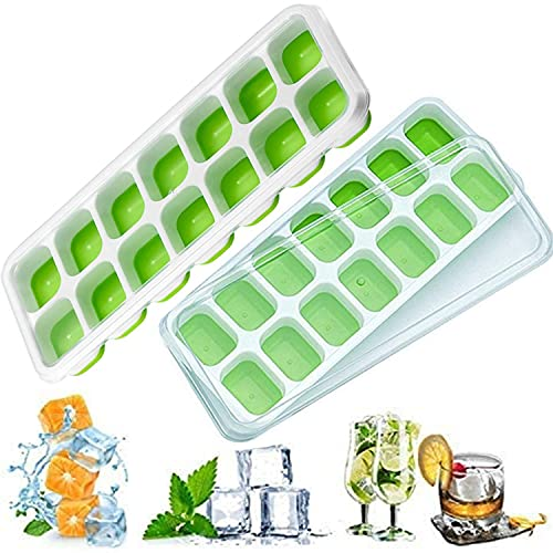 Ice Cube Trays with No-Spill Removable Lid,Easy-Release Silicone,Flexible Ice Cube Molds,LFGB Certified and BPA Free,Stackable Durable,Dishwasher Safe