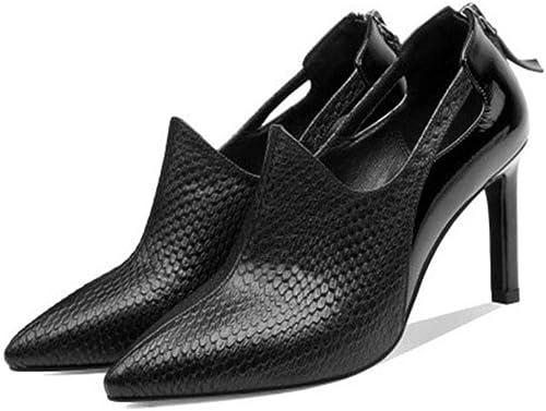 Moda damen Weiß y schwarz tacones altos, overoles de cuero tacones altos, sandalias de Farbe sólido de las señoras gruesas con
