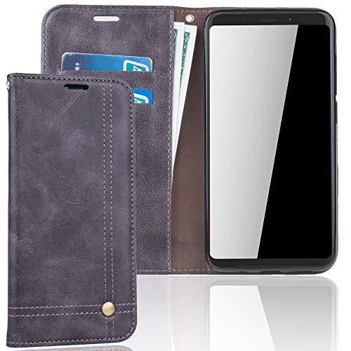 König Design Handyhülle Kompatibel mit Wiko View XL Handytasche Schutzhülle Tasche Flip Hülle mit Kreditkartenfächern - Grau