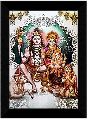 SAF Shiv Parivar multi-effect UV Textured Home Decorative gift item Framed Painting 10 Inch X 13 Inch SANFK30749