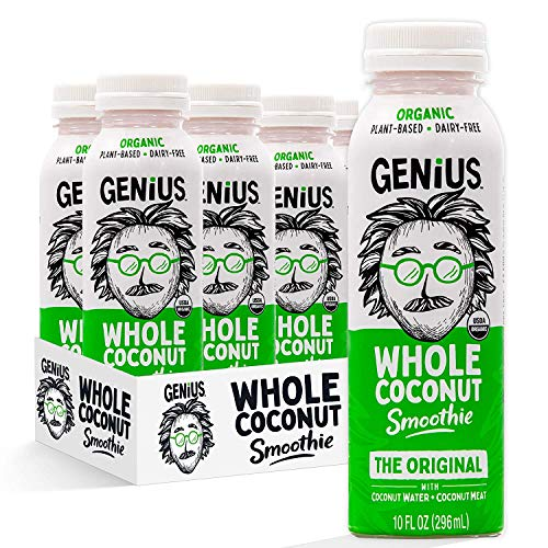 Genius Juice Organic Coconut Smoothie: Delicious Blended Whole Coconut Meat + Coconut Water - Creamy, Filling Meal Replacement - MCTs, Paleo, Vegan, Non-GMO - 6 Pack (The Original Coconut Smoothie)