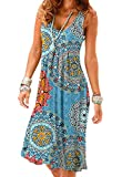 Camisunny Swing Flared Tank Dresses for Women Flattering Summer Spring Dress Printed Casual Loose Size XXL
