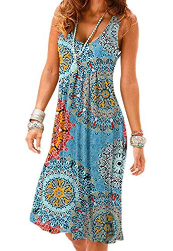 Camisunny Vacation Spring Summer Dresses for Women Flower Printed Swing Flowy Flattering Flared Size XL