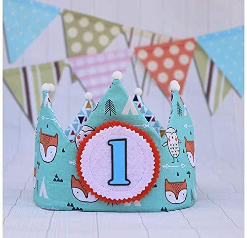 Corona cumpleaños de tela reversible para fiesta infantil, con dibujos de zorros y buhos