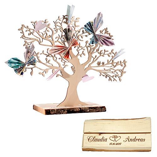 Casa Vivente Geldbaum aus Holz mit Gravur, Motiv Herzen, Personalisiert mit Namen und Datum, Dekoration, Hochzeitsgeschenke, Höhe 29 cm