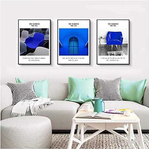 Nordic Art linnen, decoratie, schilderen, blauw, stoel, ramen, brieven, fotodruk, woonkamer, slaapkamer, decoratie, 40 x 60 cm x 3 cm, zonder lijst