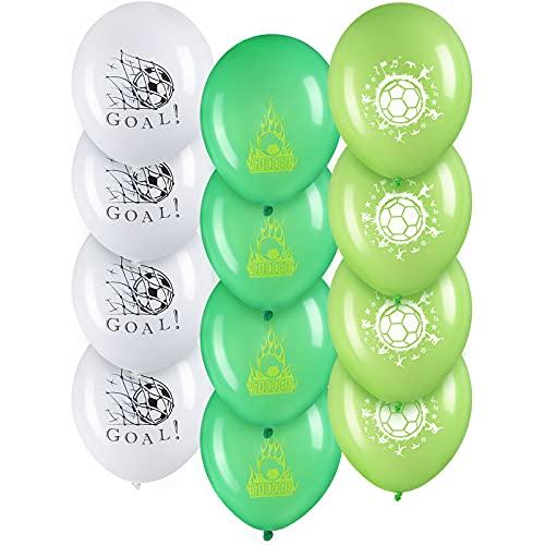 12 Globos de Fútbol Globos de Látex de Balón de Fútbol de 12 Pulgadas Globos de Fútbol Impresos de Copa de Mundo Inflados con Helio para Decoración de Fiesta de Cumpleaños, Multicolores