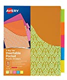 Avery Plastic 5-Tab Binder Dividers with Pockets, Insertable Multi Big Tabs, Assorted Designs, 1 Set (07714)