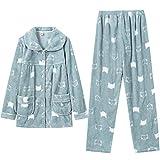 Pijama Largo de Franela cálida y acogedora para Mujer, Pijama de Invierno cálido para salón, 2 Piezas, Ropa de Dormir para Mujer Mujer2 L