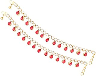 Aheli Indian Traditional Wedding Party Wear Anklet Payal Stone Studded Charm Ankle Bracelet Ethnic Festive Jewelry for Women