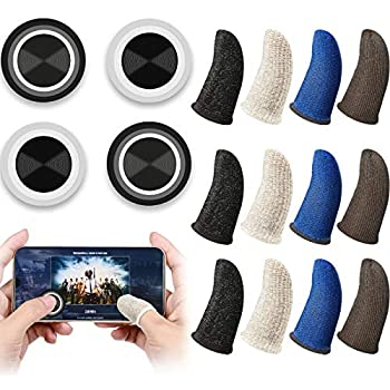 Weewooday 16 Pieces Phone Game Joystick Kits 4 Touch Screen Game Control Joypad and 12 Gaming Finger Sleeve Mobile Game Controller with Anti-Sweat Thumb Sleeves for Phones Tablets
