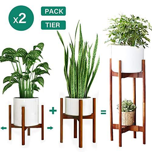 Reservilla 2 Stück Verstellbarer Pflanzenständer Mid Century Wood Blumenständer Modern Blumentopfhalter für den Innen- und Außenbereich, 21-30cm Pflanzgefäß (Bambus-Brown)