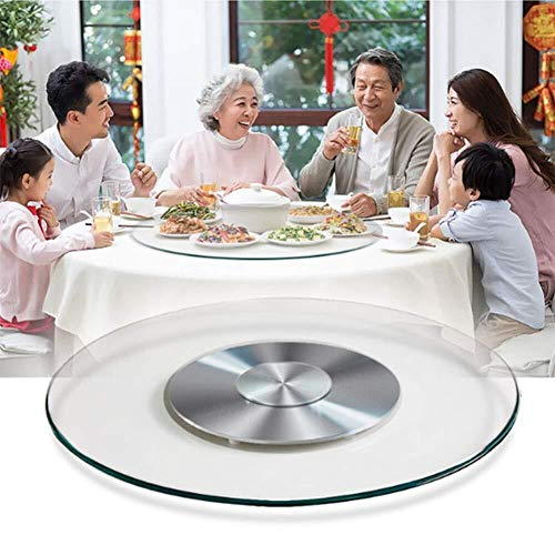 HYL Glass Lazy Susan Rotating Turntable Dining Table Turntable rotatable Glass Plate with Silent Bearing Heavy Duty Metal Tray Lazy Susan (Size : 60cm/23.5in)